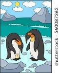 cartoon birds. two cute... | Shutterstock .eps vector #560087362