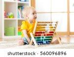 preschooler baby learns to... | Shutterstock . vector #560096896