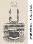holy kaaba in mecca saudi...   Shutterstock .eps vector #560101228