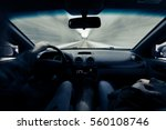 driving a car on winter road....   Shutterstock . vector #560108746