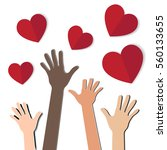 hands with  hearts | Shutterstock .eps vector #560133655
