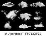Set White Clouds Isolated Black - Fine Art prints