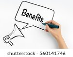benefits concept. megaphone and ... | Shutterstock . vector #560141746