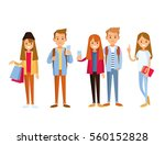 students with gadgets and... | Shutterstock .eps vector #560152828