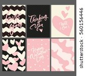 set of 6 greeting cards and... | Shutterstock .eps vector #560156446