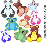 multi coloured toys bears.... | Shutterstock .eps vector #56015998