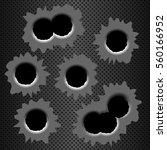 set of bullet holes. isolated... | Shutterstock .eps vector #560166952