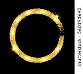 gold glitter circle banner with ... | Shutterstock .eps vector #560191642