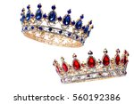 Royal Crown With Red Rubies An...