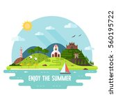 summer travel landscape in flat ... | Shutterstock . vector #560195722