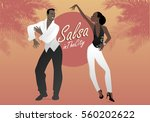 young afro american couple... | Shutterstock .eps vector #560202622