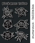 vector black roses set... | Shutterstock .eps vector #560206366