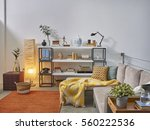 beautiful and large living room ... | Shutterstock . vector #560222536