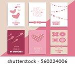 happy valentine day postcard...   Shutterstock .eps vector #560224006