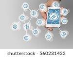 blockchain concept with hand...   Shutterstock . vector #560231422
