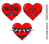 set of funny animation hearts... | Shutterstock .eps vector #560240026
