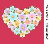 gift heart of flowers | Shutterstock .eps vector #560255752