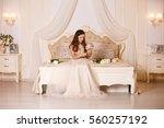 fashionable little girl in... | Shutterstock . vector #560257192