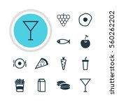 illustration of 12 eating icons.... | Shutterstock . vector #560262202