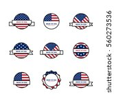set of stamps with usa flags.... | Shutterstock .eps vector #560273536