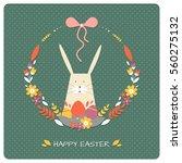 vintage easter floral wreath....   Shutterstock .eps vector #560275132