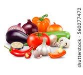 vegetables realistic... | Shutterstock .eps vector #560277472