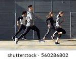 outdoor portrait of group of...   Shutterstock . vector #560286802