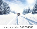 Fast Car On Winter Road And...