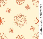 seamless pattern with symbols... | Shutterstock .eps vector #560290222