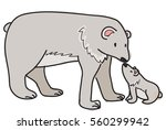 doodle style polar bear with a... | Shutterstock .eps vector #560299942