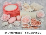 cleansing spa accessories with... | Shutterstock . vector #560304592