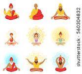 yogis and sages  people in the... | Shutterstock .eps vector #560304832