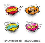 comic speech bubbles set with... | Shutterstock .eps vector #560308888