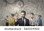 portrait of a brain storming... | Shutterstock . vector #560319502