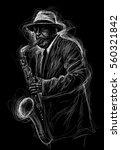 jazz saxophone player jazz...   Shutterstock . vector #560321842