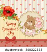 valentines day card with teddy... | Shutterstock . vector #560322535