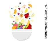 fruit bowl. slices of fruits.... | Shutterstock .eps vector #560335276