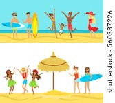 happy people on tropical beach... | Shutterstock .eps vector #560337226