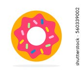 Donut With Pink Icing Vector...