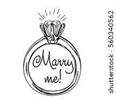 diamond ring. hand drawn vector ... | Shutterstock .eps vector #560340562