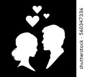 silhouette of couple in love.... | Shutterstock .eps vector #560347336