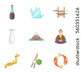 japan culture icons set.... | Shutterstock .eps vector #560351626