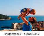 mother and little daughter on... | Shutterstock . vector #560380312
