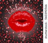 kiss.valentines day lettering...   Shutterstock .eps vector #560390566