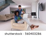 young multiethnic couple...   Shutterstock . vector #560403286