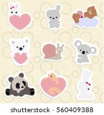 set of children's stickers of... | Shutterstock .eps vector #560409388