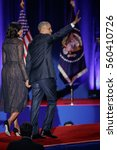 Small photo of U.S. President Barack Obama, his wife Michelle acknowledge the crowd after President Obama delivered a farewell address at McCormick Place in Chicago, Illinois, U.S. January 10, 2017.