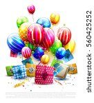 luxury colorful balloons ... | Shutterstock .eps vector #560425252