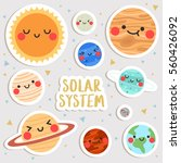 big set of cute cartoon planets ... | Shutterstock .eps vector #560426092