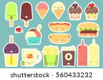 fast food sticker set. vector... | Shutterstock .eps vector #560433232